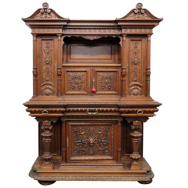 Brown Renaissance Style Carved Cupboard For Sale - Image 8 of 8