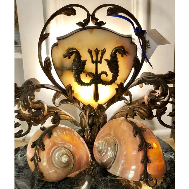 1940s Rare Antique Bronze Marble & Nautilus Shell Centerpiece Lamp For Sale - Image 5 of 8