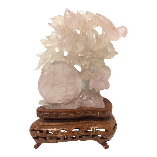 Chinese Carved Rose Quartz Sculpture For Sale
