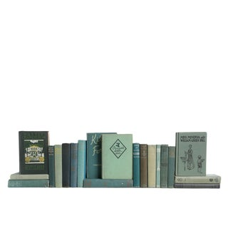 Muted Teal Vintage MIX - Twenty Decorative Books