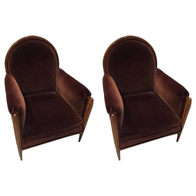 French Art Deco Club Chairs Carved Front Legs - A Pair For Sale