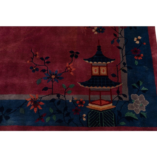 Early 20th Century Antique Art Deco Chinese Wool Rug For Sale - Image 10 of 13