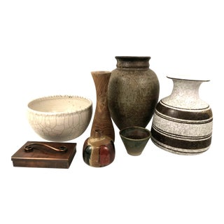 Vintage Mid-Century Organic Modern Pottery Collection - 7 Pieces For Sale
