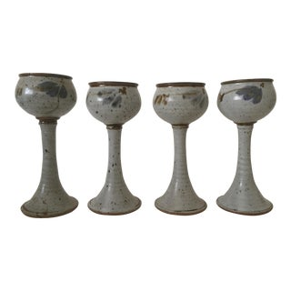 Vintage Mid Century Modern Hand Thrown Studio Pottery Stoneware Ceramic Goblets - Set of 4 For Sale