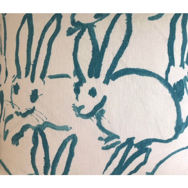 2020s Lee Jofa Bunny Hutch Print in Turquoise Pillow Cover With Piping, Double Sided For Sale - Image 5 of 6