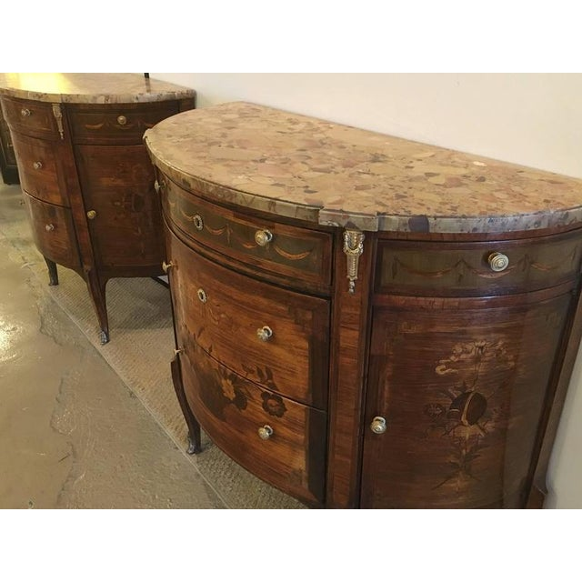 Pair of 19th Century French Louis XV Style Demilune Commode / Bedside Stands For Sale - Image 5 of 9