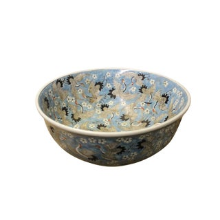 Chinese Off White Cranes Light Blue Base Color Painting Porcelain Bowl For Sale
