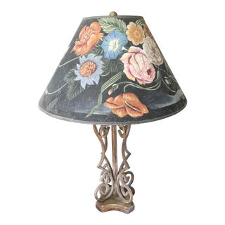 1970s Vintage Cast Iron and Handpainted Shade Table Lamp For Sale