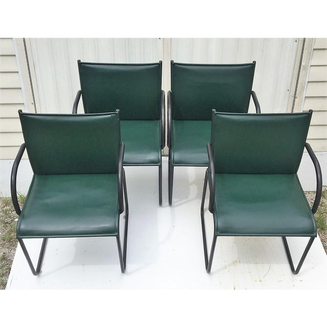 Vintage Richard Schultz for Knoll Dark Green Leather Chairs - Set of 4 For Sale In West Palm - Image 6 of 6