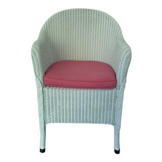 Vintage Lloyd Loom English Wicker Chair For Sale
