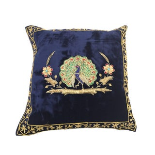 Mid Century Velvet Blue Silk Pillow Embroidered With Gold Peacock For Sale