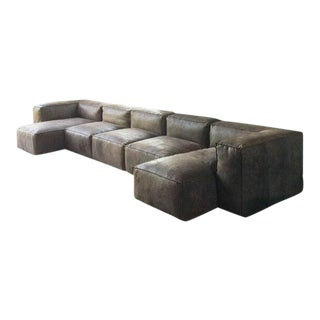 Modern Restoration Hardware Distressed Leather Sectional For Sale