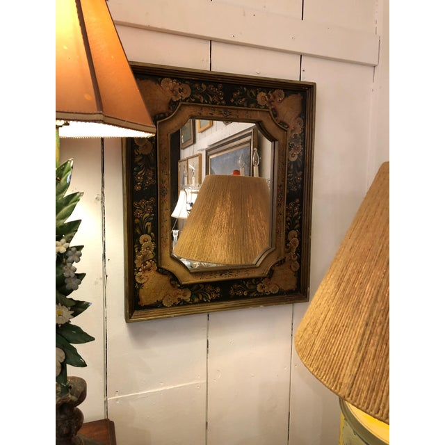 Italian Venetian Hand Painted Rectangular Mirror For Sale - Image 3 of 10