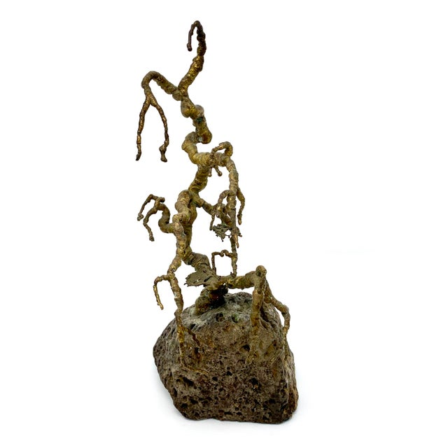 Vintage Brutalist brass and stone tree sculpture. In excellent condition, a striking and unique piece of mid-century design.