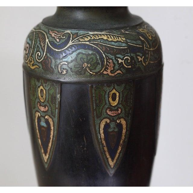 Vintage Cloisonne Lamps - Pair - Image 3 of 8