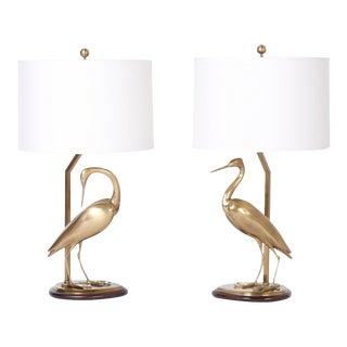 Brass Egret Bird Table Lamps - A Pair For Sale