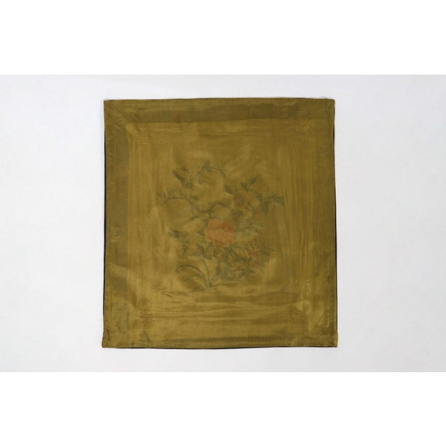 Asian Antique Vintage Asian Antique Silk Embroidery Cloth With Sparrows and Golden Backdrop For Sale - Image 3 of 4