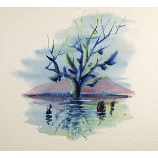 Blue Tree & Purple Mountain Painting For Sale