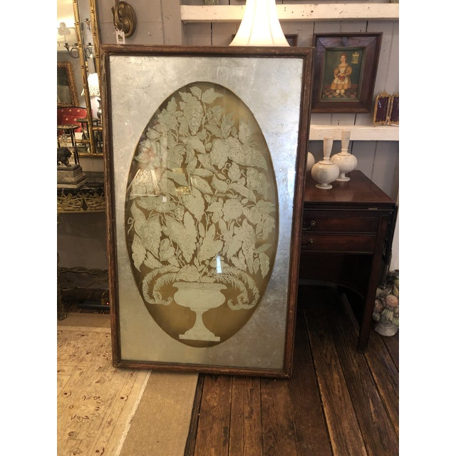 One of a kind amazingly elegant dramatic pair of reverse painting on glass panels in deep 3 dimensional distressed wooden...