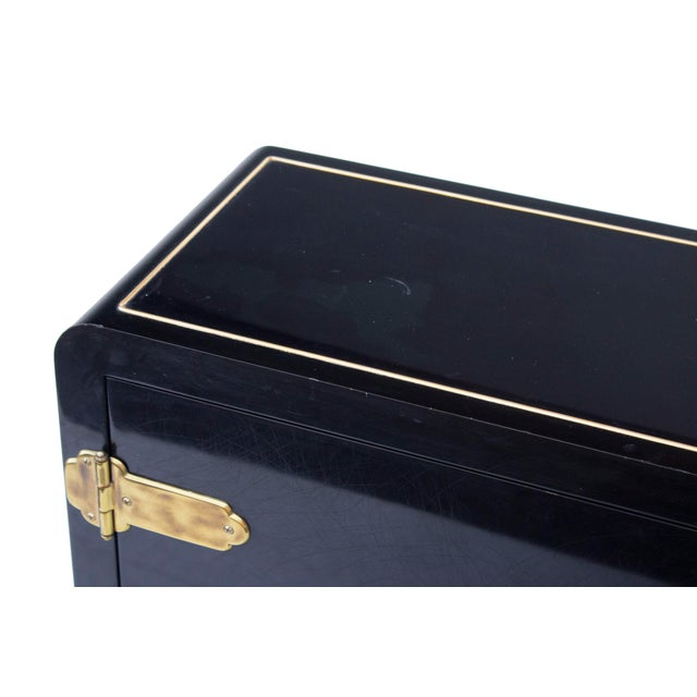 Mastercraft Console Cabinet in Black Lacquer and Brass For Sale - Image 12 of 13