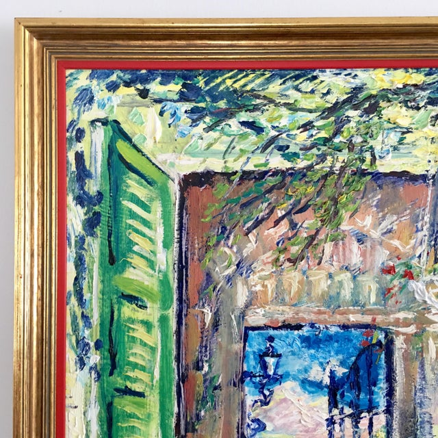 1970s Original Spanish Courtyard Oil Painting For Sale - Image 5 of 12