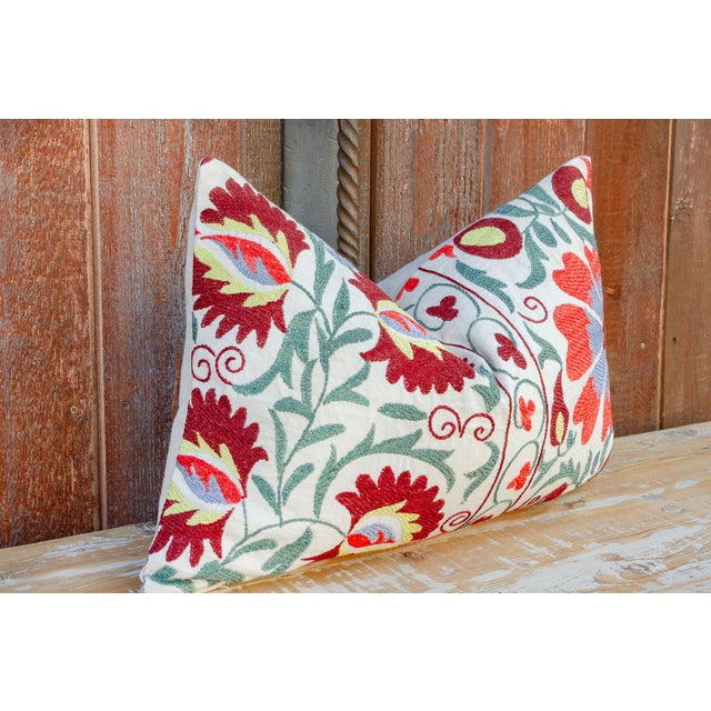 Nalin Coral Floral Suzani Pillow For Sale - Image 4 of 10