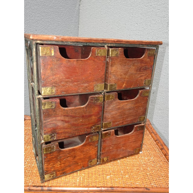 Vintage French Country Table Top Storage Bin Drawers (6) W Decorative Brass For Sale In Los Angeles - Image 6 of 12