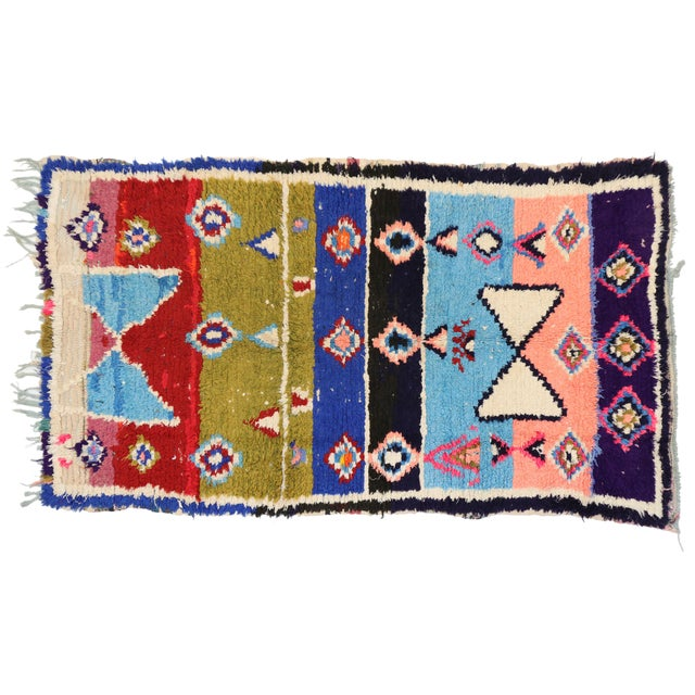 Berber Tribes of Morocco Vintage Berber Moroccan Boucherouite Rug For Sale - Image 4 of 4