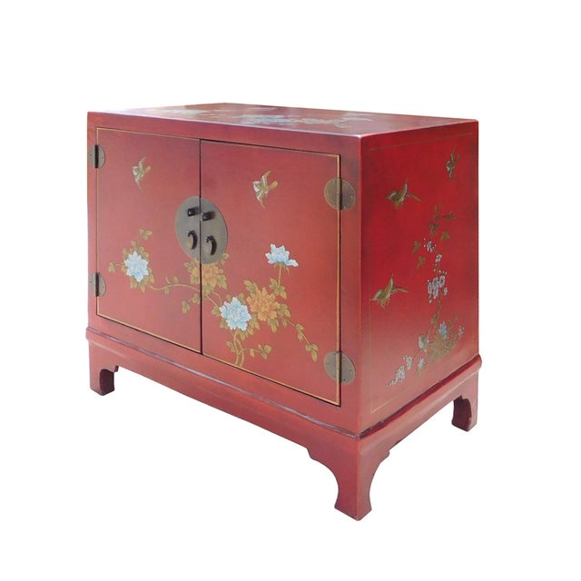 Oriental Red Vinyl Flower Side Table Cabinet - Image 4 of 7