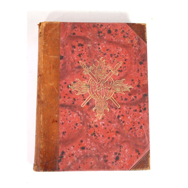 Rustic European 1942-1945 Vintage World War II Red & Leather Bound Swedish Books - Set of 5 For Sale - Image 3 of 6