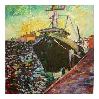 """""""Ship in the Harbor"""" Contemporary Expressionist Style Nautical Oil Painting For Sale"""