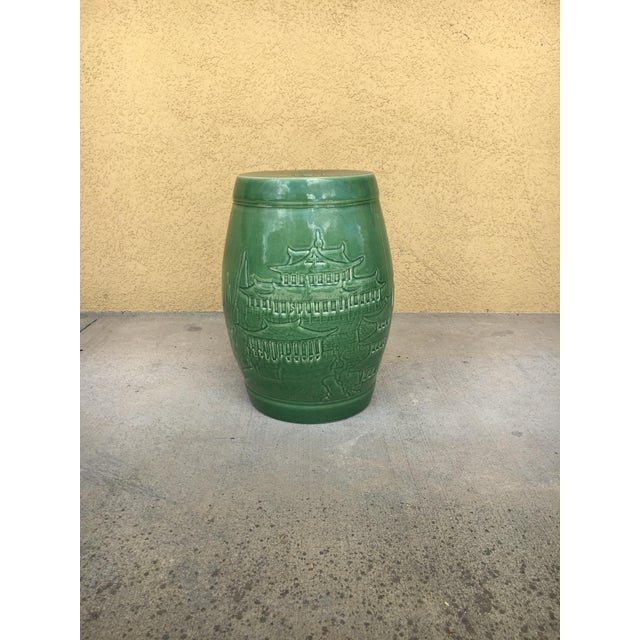 Vintage Contemporary Chinoiserie Green Ceramic Garden Stool For Sale In Tampa - Image 6 of 9
