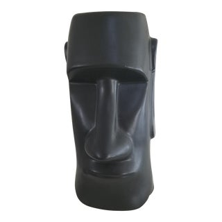 Mid-Century Modern Matte Black Face Vase