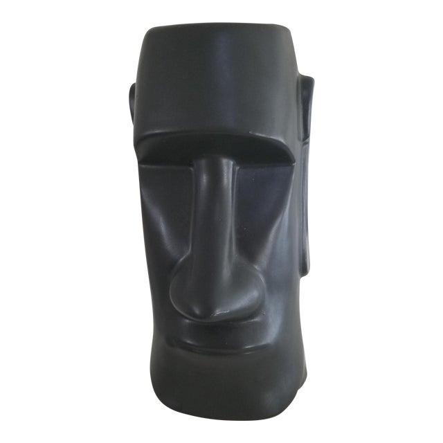 Mid-Century Modern Matte Black Face Vase For Sale