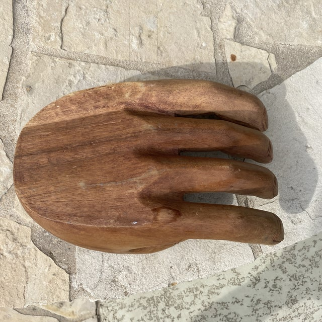 Wood 1960s Mid Century Wooden Human Hand Sculpture For Sale - Image 7 of 12