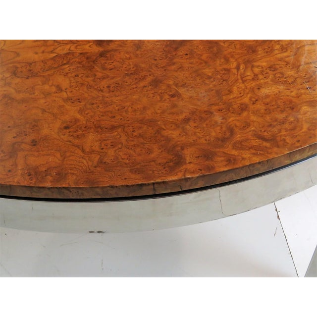 Milo Baughman Burl Walnut & Chrome Dining Set- 7 Pieces - Image 2 of 10