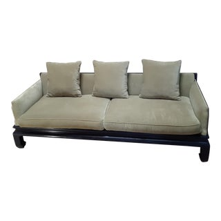 Mid Century Modern Oriental Style Fretwork Frame Olive Green Sofa For Sale