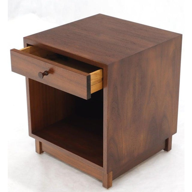 Pair of Mid-Century Modern one drawer nightstands cabinets. Adrian Pearsall and Paul McCobb decor influence.