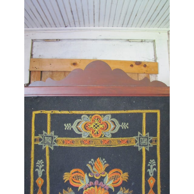 Mahogany Victorian needlepoint fire screen with swing feature on a frame. Made in the 1910s.
