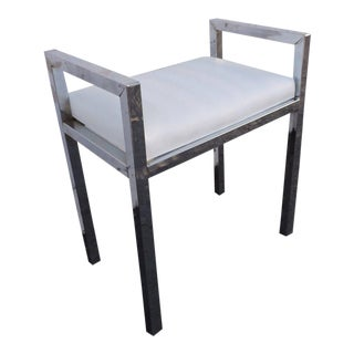 Vintage Mid Century Small Chrome and White Vinyl Vanity Stool Bench For Sale