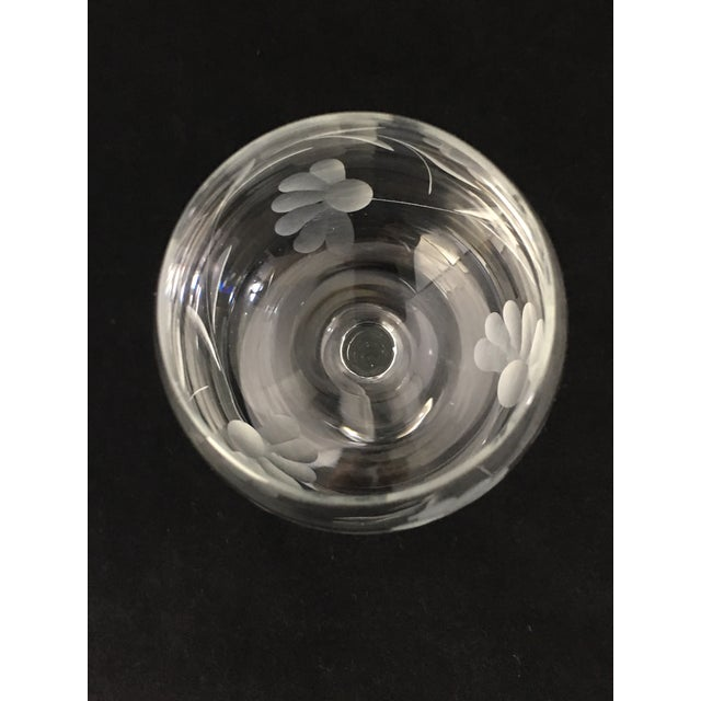 Glass Vintage Etched Crystal Stemware - Set of 9 For Sale - Image 7 of 12