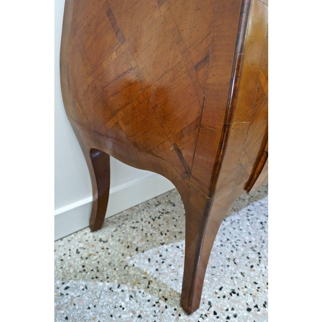 Louis XV Style Marquetry Bombe Commode: Italy, 1960s - Image 8 of 9