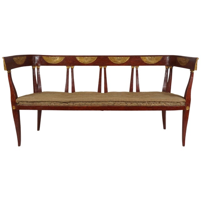 Italian 'Egyptian' Style Parcel Gilt and Painted Settee, Circa 1805 For Sale