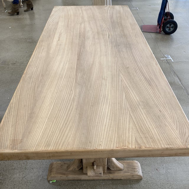 Tan French Bleached Walnut Trestle Table For Sale - Image 8 of 13