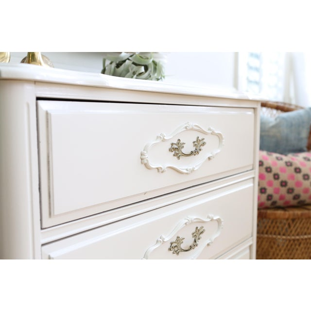 Shabby Chic Vintage White Nightstand - Image 5 of 6