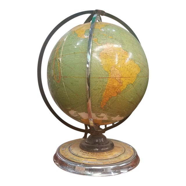 Cram's 1936 Deluxe Globe With Suns Rays For Sale