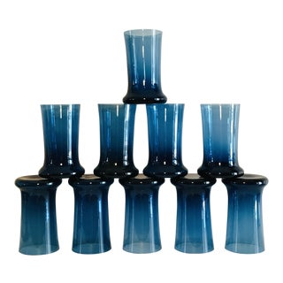 Mid-Century Modern Smoky Blue Glass Tumblers - Set of 10 For Sale