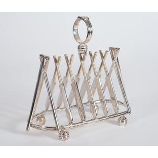 Vintage English Silver Plate Cricket Sport Design Toast Rack Preview
