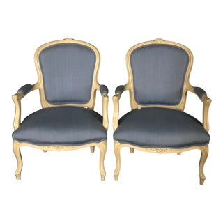 Painted Louis XV Style Bergere Armchairs -A Pair For Sale