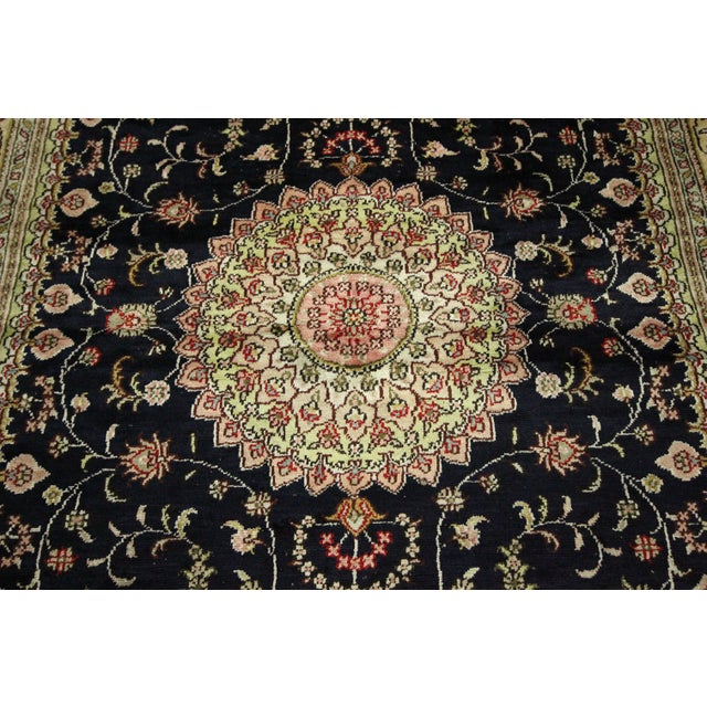 Kashan Silk Midnight Blue-Ivory Rug - 4' x 6' - Image 6 of 8